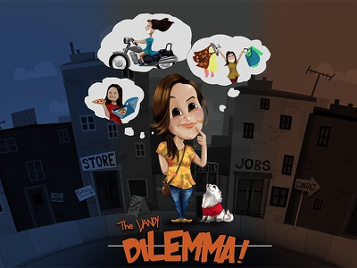 The Dilemma, Post Card, Illustration girl character cute postcards illustration digital painting