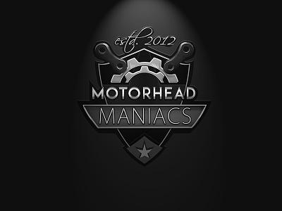Logo Design, Motorhead Maniacs. black and white steel metal logo gears motor sports biker club logo design