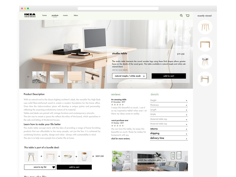 Ikea redesign product page by Sigal Rak Viente on Dribbble