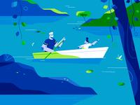 Blue styleframes character adobe illustrator outdoors summer family man child kid plants tree river lake activity nature canoe 2d design texture character design illustration