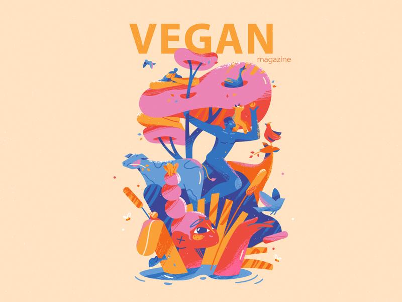 Vegan Magazine cover care texture cover magazine freedom peace fruit vegetables vegan tree humans animals planet environment climate harmony nature character design deisgn illustration