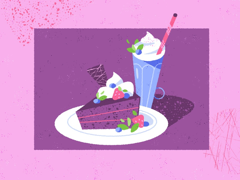 Don't cry, there's vegan pie 🥳 retro vintage diner strawberry purple pink baking snack food restaurant coffee milkshake pie cake adobe illustrator design texture illustration