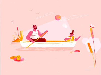 Pink outdoors 🦩 pink family outdoors water characters canoe nature styleframe adobe illustrator texture character design illustration