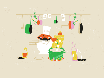 Soup styleframe restaurant kitchen soup cuisine chef food cooking adobe illustrator storyboard texture character design animation illustration