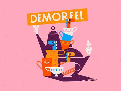 New demo options 🦕 reel demo colors dino dinosaur intro dinos teapot cups tea dinosaurs color palette texture illustration