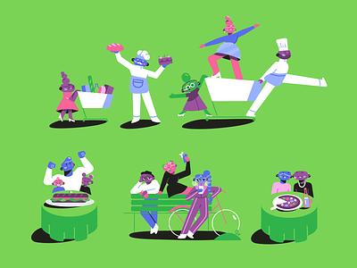 Vmarkt character designs friends family groceries shopping restaurant vegan characters storyboard texture 2d animation character design animation illustration