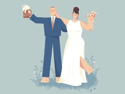 Beer + Pizza make the best weddings celebration pizza beer groom bride costume marriage wedding character design illustration