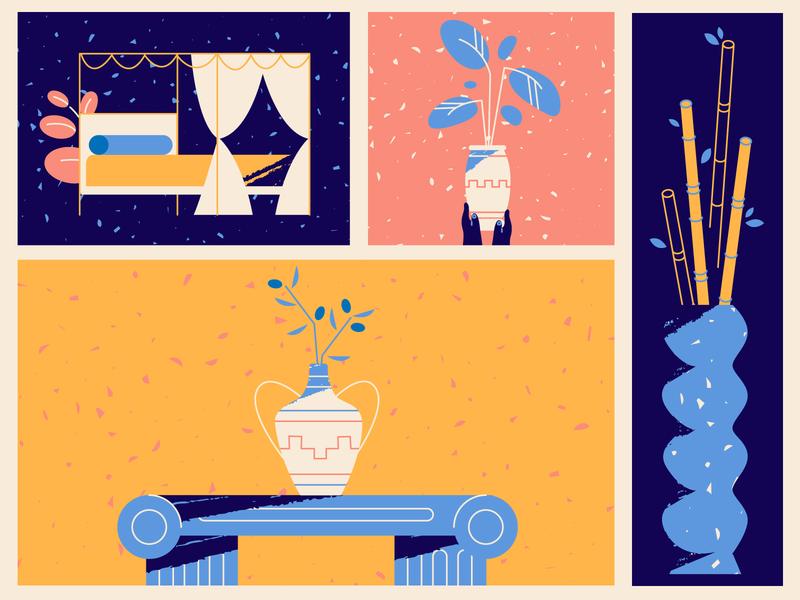 Breezy furniture adobe illustrator shape olive home pot furnishing decor bed table vase bamboo plant mythology greek furniture design texture explainer videos explainer video illustration