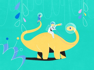 Little dinosaur-taming space-pirate fantasy dream expedition astronaut pirate adventure boy child dinosaur dino texture 2d explainer videos explainer video storyboard character design 2d animation animation illustration