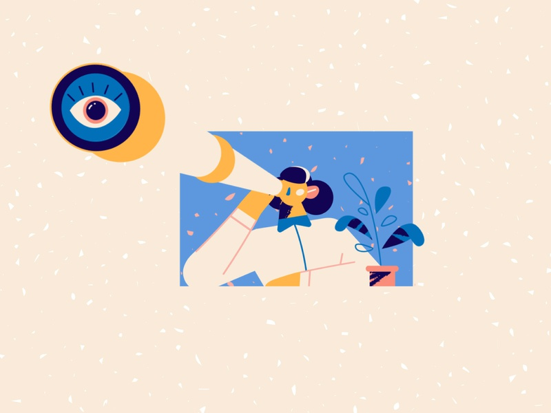 Big ass eye ball 👁 window office plant eye binoculars girl adobe illustrator texture explainer videos storyboard explainer video 2d animation character design animation illustration