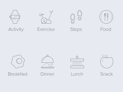 Prevent Mobile App Icons prevent mobile icons illustration ui health tracker food activity exercise line app