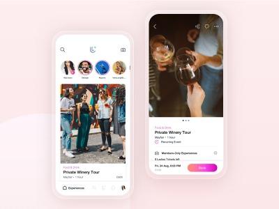 Let's Day Out - Mobile App pink minimal clean purchase tickets profile social networking letsdayout app design icon ui web ios guide uidesign ux ui experience events app design dating mobile app app adchitects