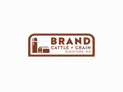 BRAND CATTLE + GRAIN LOGO brand design patch badge brand identity lockup barn silo logo designer typography logodesign logo design logo branding design illustration farm logo farm grain cattle brand