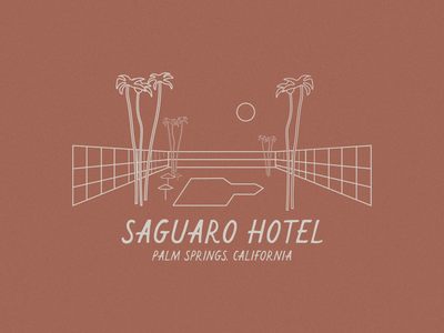 WEEKLY WARMUP // #60 desert saguaro dribbble best shot dribbbleweeklywarmup palm tree hotel hotel branding hotel logo california beachy grain logo designs logo designer typography logodesign logo design logo branding design illustration