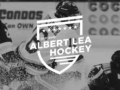 ALBERT LEA HOCKEY ASSOCIATION LOGO apparel design hockey stick hockey puck illustration logodesign branding design logo logo design hockey logo hockey