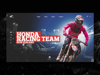 Honda Racing Team NZ Landing page honda ui ux web design
