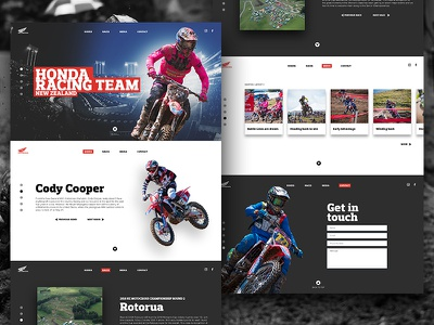 Honda Racing Team Single Page Website honda motocross new zealand landing page web design website interface ui