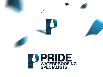 Pride Water Proofing typography icon branding design water branding design australia new zealand logo