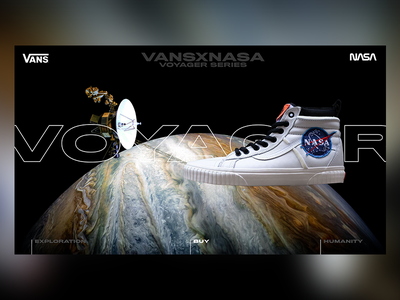 VANSxNASA - Voyager Series Landingpage planet astronomy mankind jupiter ecommerce voyager clean clothing adobe xd ux website web nasa fashion vans space dark design web design ui