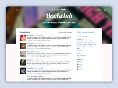 Bookclub website design website books book app book club bookstore ux ui  ux book review review bookclub goodreads book ui design ui