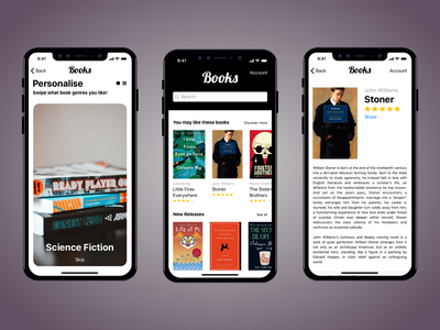 Book app (Tinder Style) stoner book club book app bookstore tinder goodreads reads design app book books