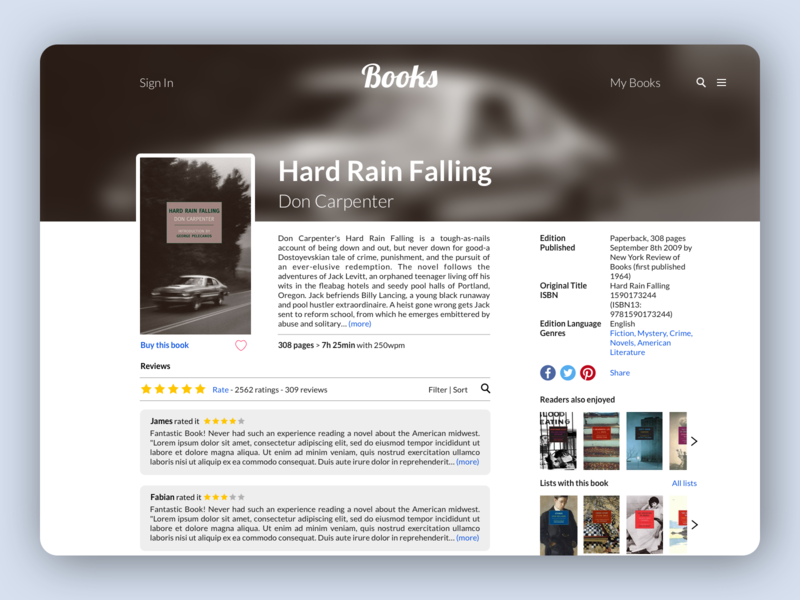 Book review website by Justus de Bruin on Dribbble