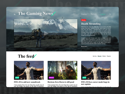 Gaming News Website - The Gaming News website design game design journalism horizon zero dawn fifa death stranding game art games steam xbox playstation gaming news the gaming news news the gaming game