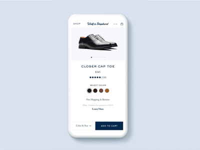 Product Detail Page - Add to Cart add to cart shopping web interactions design principle animation product page customization ecommerce ui ux mobile
