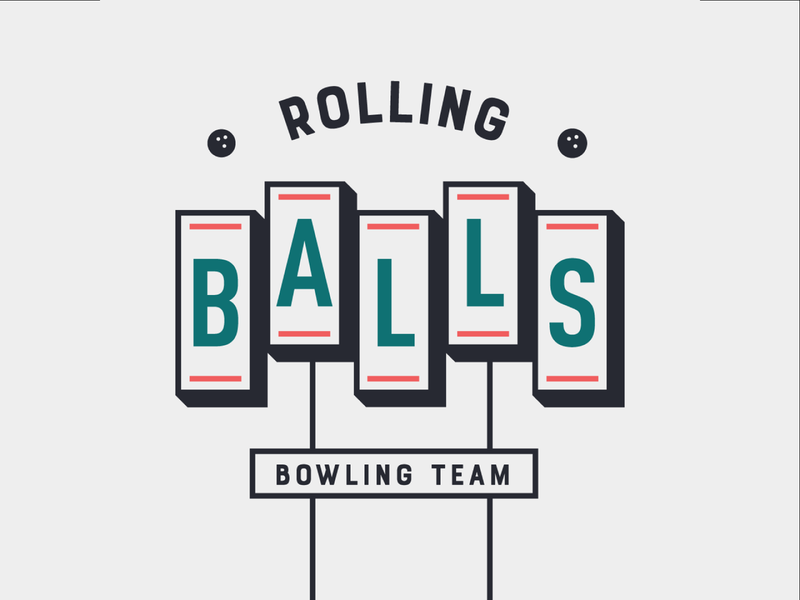 Rolling Balls Bowling Team bowling mid mod sign typography type design