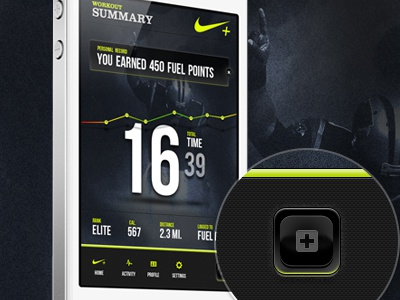 Nike Plus Workout Summary nike summary app workout nike plus running layout dark green button