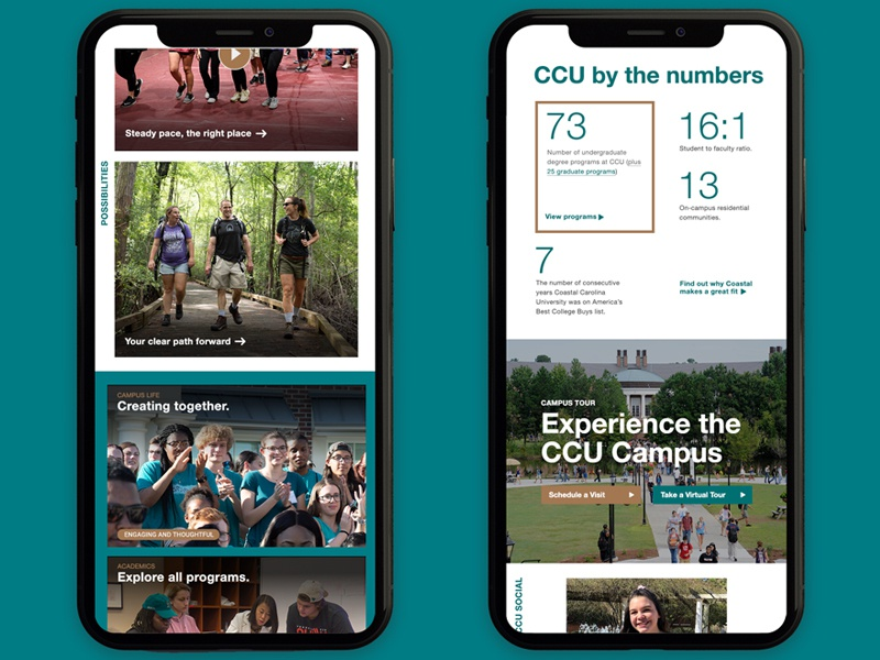 Mobile Layout Preview campus ui teal college higher education higher ed web design web gen z bootstrap grid mobile