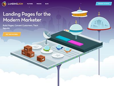 Landing Lion Homepage space animation web design illustration landing pages
