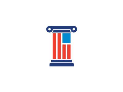 Flag Column (Unused Mark) merica column flag logo