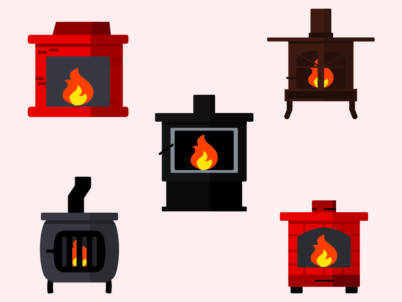 Wood Stoves Icons infographic vector layout illustration icon design