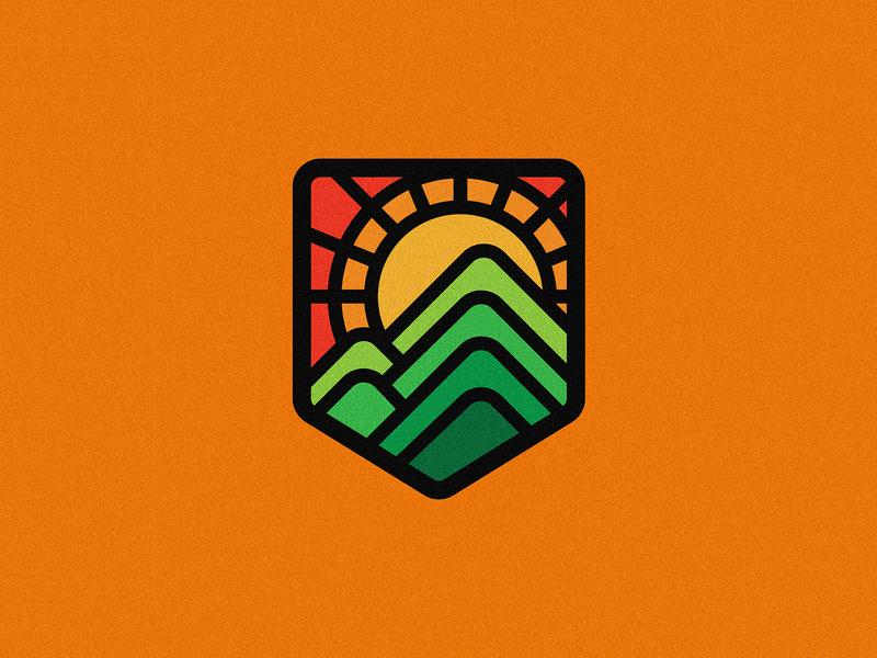 Adventure pack series sunrise nature illustration lineart linework design badge badgedesign illustration minimal vector badge logo logo