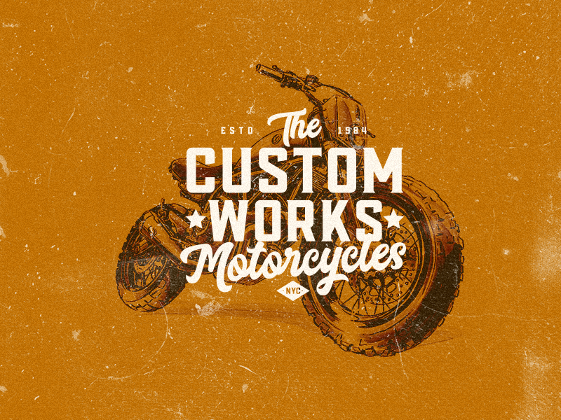 Custom Works nyc vintage badge vintage logo motorcycle caferacer badge design apparel design logodesign brandidentity typography badge brand badgedesign vector badge logo branding design branding logo