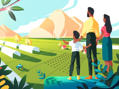 Between men and land farm landscape design land design 2d character design concept concept art photoshop animation illustration