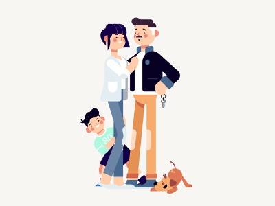 Family dog family after effects mograph design character motion graphics character design 2d concept concept art photoshop illustration animation