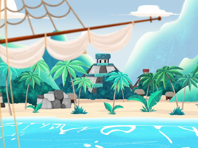 Mayan community zoom ship beach pyramid mayan maya concept art photoshop illustration animation
