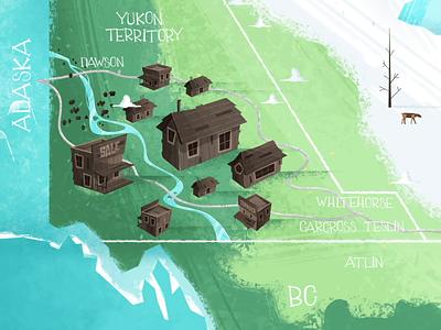 Gold Seekers Map house mapa maps 2d concept concept art photoshop illustration animation