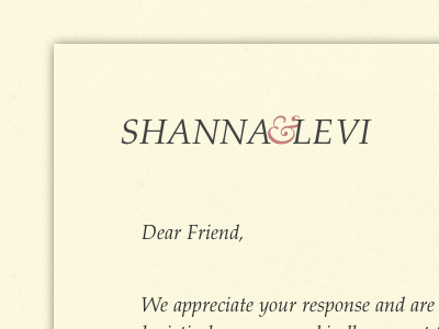 Levi & Shanna wedding rsvp website