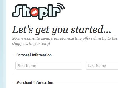 Shoplr Merchant Signup Form signup form ux ia