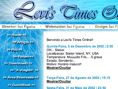 Levi's Times Online - circa 2001 backintime blue photoshop slicesandtables blogbeforeblogs