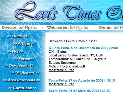 Levi's Times Online - circa 2001 backintime blue photoshop slicesandtables blogbeforeblogs