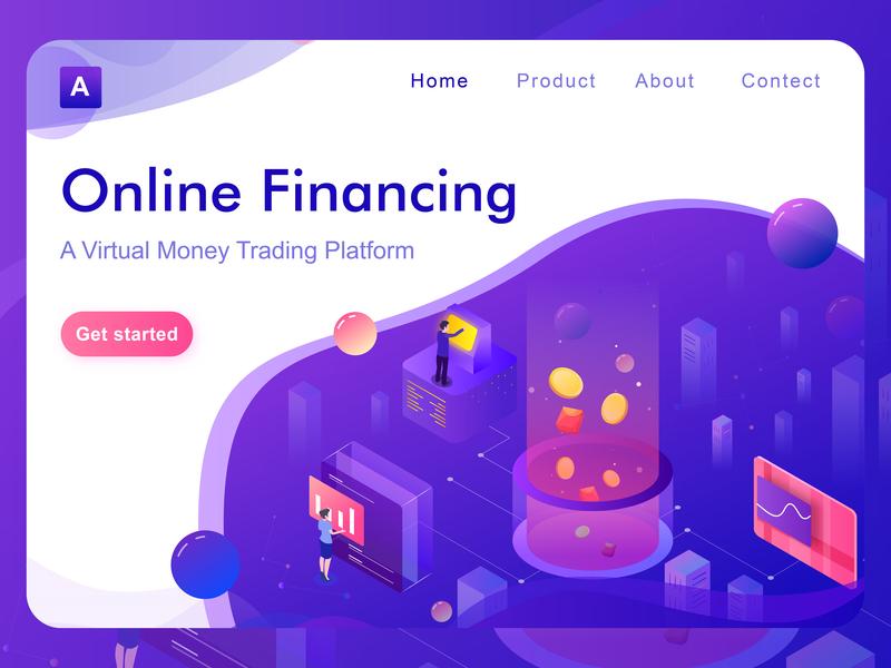 Online financing website banner website design webside online service bitcoin services ui bitcoin design 2.5d isometric illustration