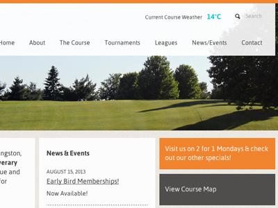 Simple Golf Course Site golf golf course website design orange flat