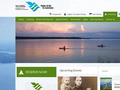 St. Lawrence Parks Websites Refresh design flat website content heavy background images