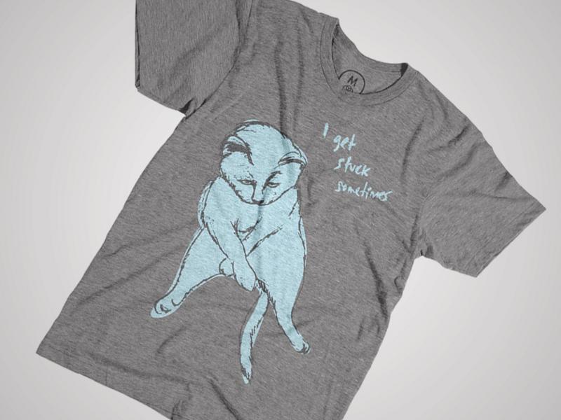 I get stuck sometimes tshirt shirt t-shirt design cat kitten kitty grey blue clothing print screen print