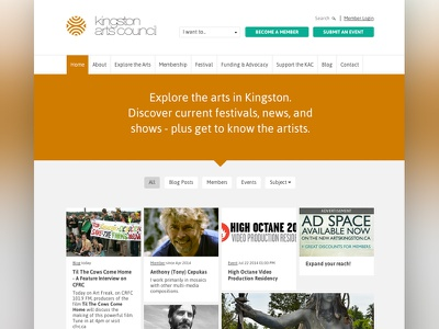 Kingston Arts Council Website website web design arts council events art member profiles orange