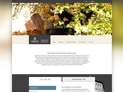 Queen's University Masters of Industrial Relations Website queens website web design design layout photoshop web